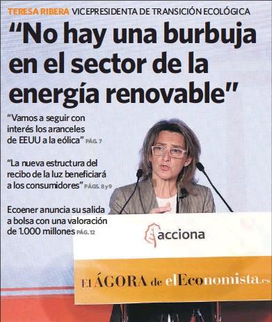"""""""NO HAY UNA BURBUJA EN EL SECTOR DE LA ENERGÍA RENOVABLE"""""""